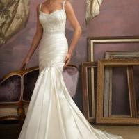 Quality Spaghetti Strap Mermaid Satin Lace Beaded Bridal Gown wholesale