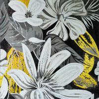 Quality White Magnificent Floral Glass Mosaic Wall Art , Craft Mosaic Tile Floor Patterns wholesale