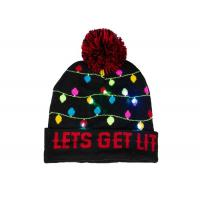 Quality Custom Colorful Warm Winter Accessories Cozy Cotton Christmas Beanie With Light wholesale