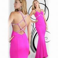 Cheap Spaghetti Strap V-neck Prom Dress with Asymmetrical Wrap at Waist for sale