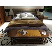 Quality 2017 New design of  Fabric Upholstered headboard Bed by Walnut wood frame for Fashion Apartment  bedroom furniture use wholesale