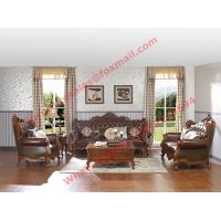 Cheap European Classic Solid Wooden Carving Frame with Italy Leather Upholstery Sofa for sale