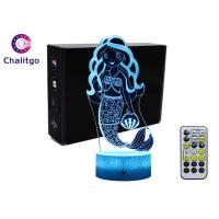 Quality Mermaid 3D Night Light Table Lamp , Glass Illusions Lamps For Girls Decoration wholesale