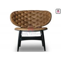 China Tufted Leather Restaurant Dining Room Chairs VIP Room Over Size Shell Shape Backrest on sale