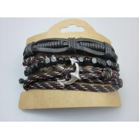 Quality Man Leather Bracelet Elastic Cord With Wood Beads in YiWu Buy Fashion Jewelry wholesale