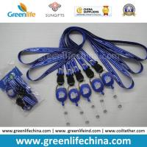 China Breakaway neckwear smooth polyester custom printed satin lanyard and round badge reel holder combo on sale