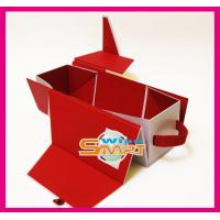 Quality Custom Red Mahogany / Cardboard / Rigid Paper Board Wine Packaging Boxes, Paper Folding Box wholesale