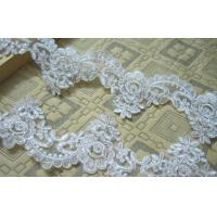 Quality Ivory Wedding Dress Lace Border with Cord/ Bridal veils Lace Edge with Bead wholesale