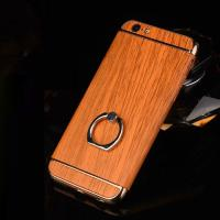 Quality Hard PC Retro Wood Triple Plating Border Ring Buckle Bracket Cover Cell Phone Case Cover For iPhone 6 6s Plus wholesale