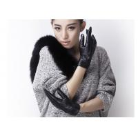 China Embroidery Folding Cuff  Ladies Black Leather Gloves With Sheep leather Short Fashion Style on sale