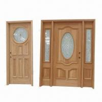 Quality Solid wood exterior doors with frame, glass and molding wholesale