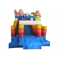 China The Simpsons themed inflatable water park big inflatable slide with sealed water pool for children on sale
