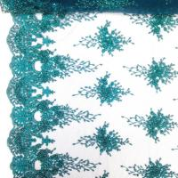 Quality Green Color Teal Spirit Floral Bridal Beaded Lace Fabric On Mesh 100% Polyester wholesale