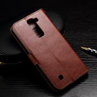 Quality Wallet Stand Lg K7 Leather Cases Slim Design Brown Crazy Horse Drop Protection wholesale