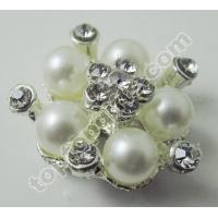 China rhinestone button with plastic pearl to Berlin fashion show on sale