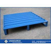 Quality Blue Powder Coating Iron Warehouse Steel Pallet With 4 Side Forklift Entrance wholesale