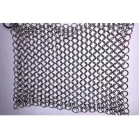 Quality 304 316 Stainless Steel Chainmail Cast Iron Scrubber 7 / 8 Inch For Kitchen wholesale