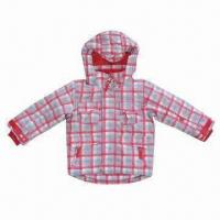 Quality Children Winter Jacket with Checkered Print, Made of 210T Polyester Lining wholesale