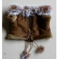 China Winter Warm Color Block Beige/Grey/Camel Sheep Suede Shearling Leather Mittens on sale