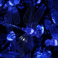 China 30 Blue LED Dragonfly Solar Powered Fairy Lights on sale
