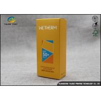 Quality Yellow Retail Packaging Boxes For Sun Block Cream / Silver Paper Cosmetic Box wholesale