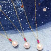 China Ruby Gemstone Gold Jewelry Pendant Chain Necklace With Freshwater Pearls on sale
