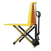 Quality Yellow Color Steel Scissor Lift Hand Pallet Truck , Manual Hydraulic Stacker Straddle Lift Truck wholesale
