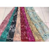 Quality Embroidered Sequin Lace Fabric , Floral Tulle Fabric For Fashion Party Gown Dress wholesale