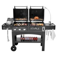 China Flame Safety Commercial Kitchen Equipments Dual Fuel GAS / Charcoal BBQ Outdoor Combo Grills on sale