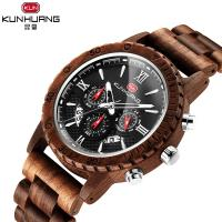 China 1 ATM Black Dial Walnut Wooden Quartz Watch Date Month Stopwatch For Man on sale