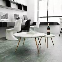 Cheap Living Room Round Dining Tabletops Marble Stone Countertops With Metal Base for sale