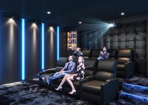 Quality Grey Home Cinema System With Leather Electric Recliner Sofa For Movie / Theater / House wholesale