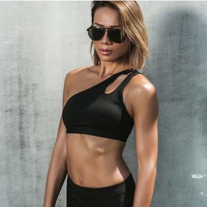 Quality Nylon Womens Running Bras , One Shoulder Padded Bra Push Up Tight Seamless wholesale