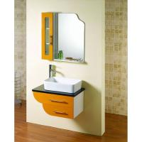 Cheap Square shape floating bathroom sink cabinets modern with 5mm silvered float for sale
