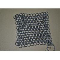 Quality 7*7 inch Stainless Steel Wire Mesh Scrubber / Chainmail Cast Iron Cleaner wholesale