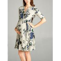 China Burgundy Floral Print Lace Maternity Wrap Dress Half Sleeve Wear Comfortable on sale