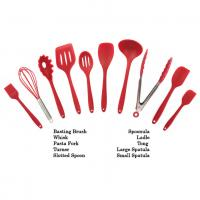 Quality Customized Logo Print Silicone Kitchen Utensils Soft Food Grade Safe Colorful Red Color wholesale