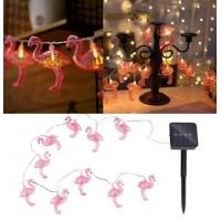 China Solar Powered 10LEDs Pink Flamingo Shaped Warm White String Light For Garden Outdoor Party on sale