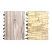 Quality Metal Spiral Presentation Book B5 Diecutting Wood Grain Hard Cover With Index Divider wholesale