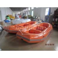Quality Orange PVC Tarpaulin Fabric Rafting Boat  With Reinforced Strips For White Water wholesale