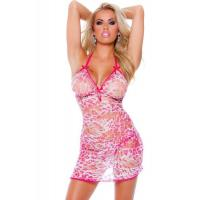 Quality Orange / Pink Summer Sheer Leopard Sexy Babydoll Lingerie Costumes wholesale