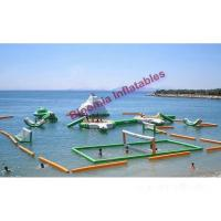 China Seaside Green Inflatable Water Parks, Floating Aqua Park With Volleyball Court on sale