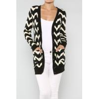 Quality Customized Zig Zag Open Cardigan Womens Knit Sweaters With Chevron Printed wholesale