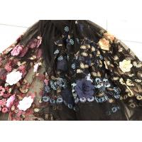 Quality Flower Embroidered Sequin Lace Fabric , Multi Colored 3D Flower Mesh Lace Fabrics wholesale
