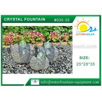 Quality Artistic Cast Stone Garden Fountains Polished Surface With Three Crystal Glass Balls wholesale