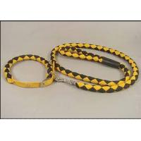 China Yellow black braided polyester rope Soft PU dog leash for big dogs on sale