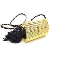 China Ladies Earthly Solid Gold Coloured Clutch Bags With Black Pu Leather Tassel on sale
