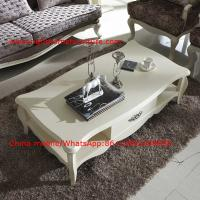 Cheap Neoclassical style Coffee table in smart flower craft with tempered glass top for sale