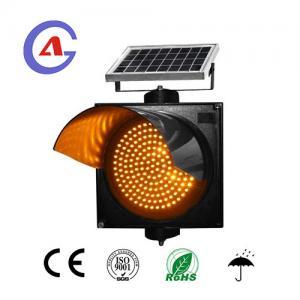 China Solar flashing traffic light 12 volt amber led warning traffic light head on sale