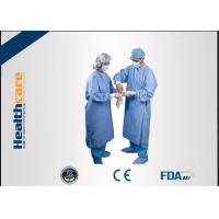 China Water Resistant Disposable Surgical Gowns SMS Standard Medical Blue With Knitted Cuff on sale